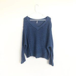 Free People Blue Open Knit V Neck Pullover Sweater